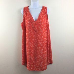 OLD NAVY XXL ORANGE PRINTV-NECK TUNIC DRESS